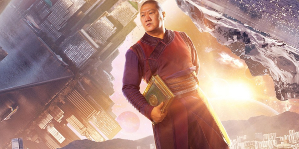 Doctor Strange Wong walking in an alternate dimension with a book in hand.