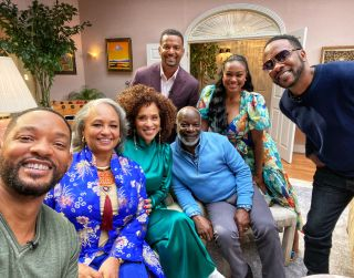"""From left, Will Smith, Daphne Maxwell Reid, Karyn Parsons, Alfonso Ribeiro, Joseph Marcell, Tatyana Ali, and DJ Jazzy Jeff in """"The Fresh Prince of Bel-Air"""" reunion special."""