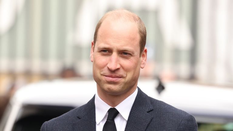 Prince William, Duke of Cambridge, wearing black as a mark of respect following the Duke of Edinburgh's passing, visits 282 East Ham Squadron, Air Training Corps in East London on April 21, 2021 in London, England