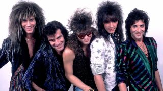 Bon Jovi in 1985 – from left to right David Bryant, Tico Torres, Jon Bon Jovi, Richie Sambora and Alex Jon Such