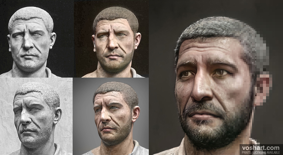 Voshart fed Artbreeder a colorized model of the Roman emperor Philip the Arab, who ruled from A.D. 244 249, to help the neural net create a realistic skin color for the emperor's portrait.