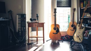 room filled with musical instruments