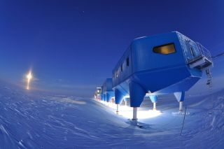 The mobile buildings of the Halley research station were moved in 2017 to avoid the base being cut adrift by a growing chasm in the ice shelf.