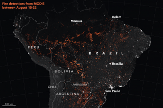 This map shows active fire detections in the Amazon rainforest in Brazil as observed by Terra and Aqua MODIS between Aug. 15-22, 2019.