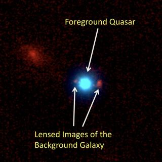 Massive Black Hole Bends Light to Magnify Distant Galaxy