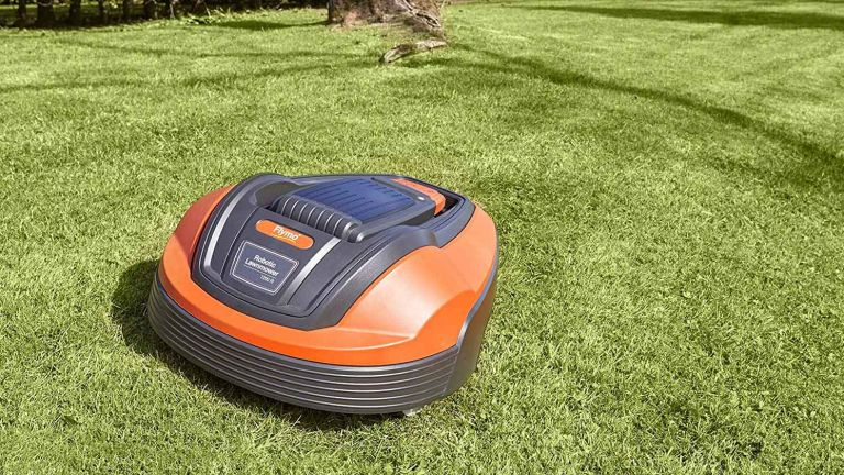 Flymo 1200 R Lithium-Ion Robotic Lawn Mower on grass
