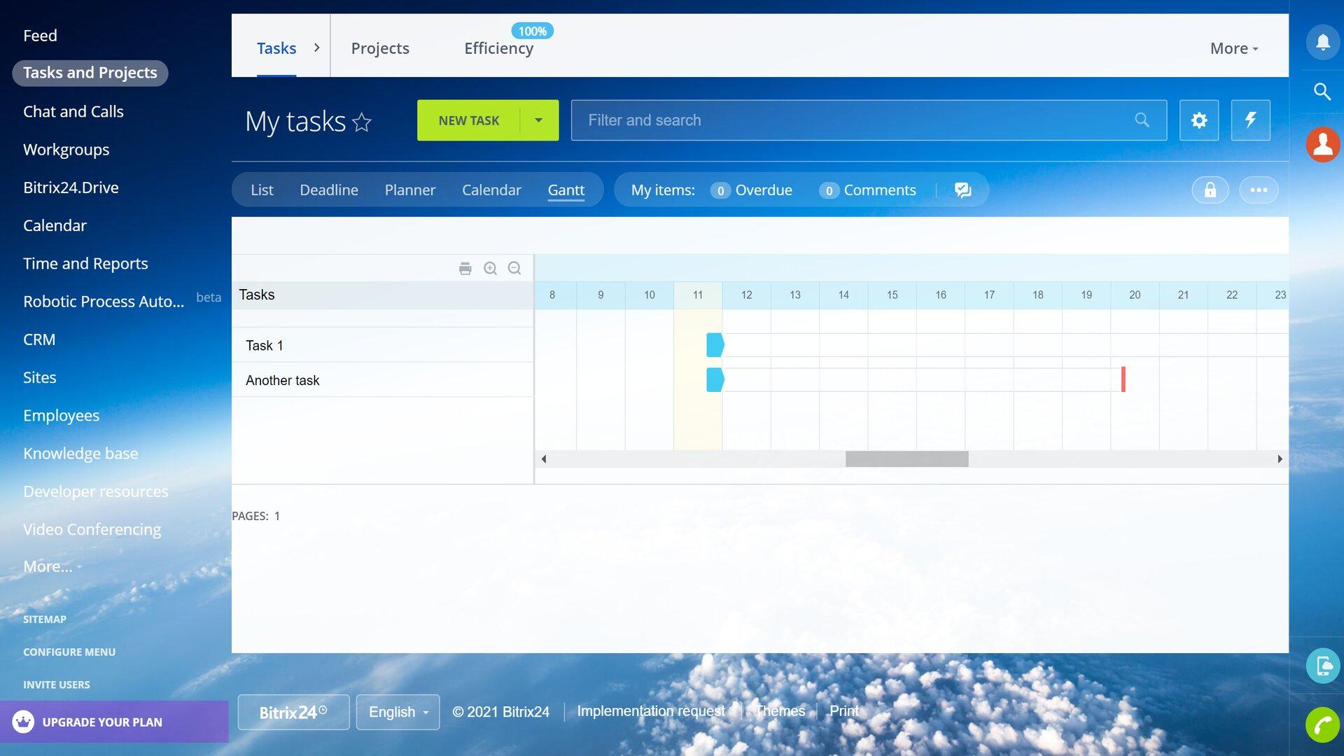 Bitrix24's project management screen