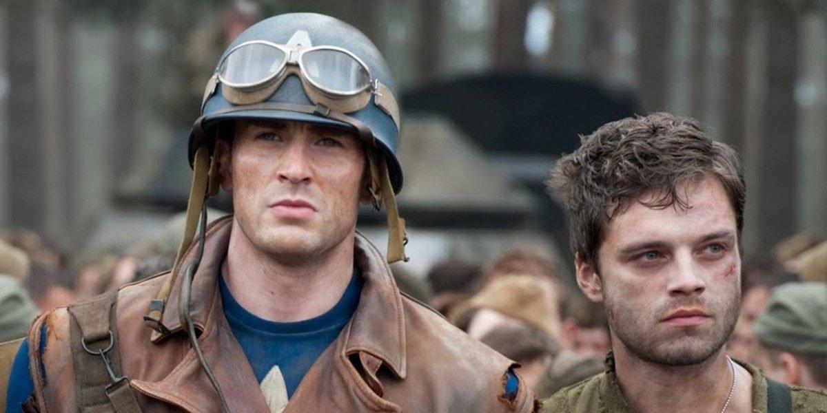 Chris Evas as Steve Rogers and Sebastian Stan as Bucky Barnes in Captain America: The First Avenger