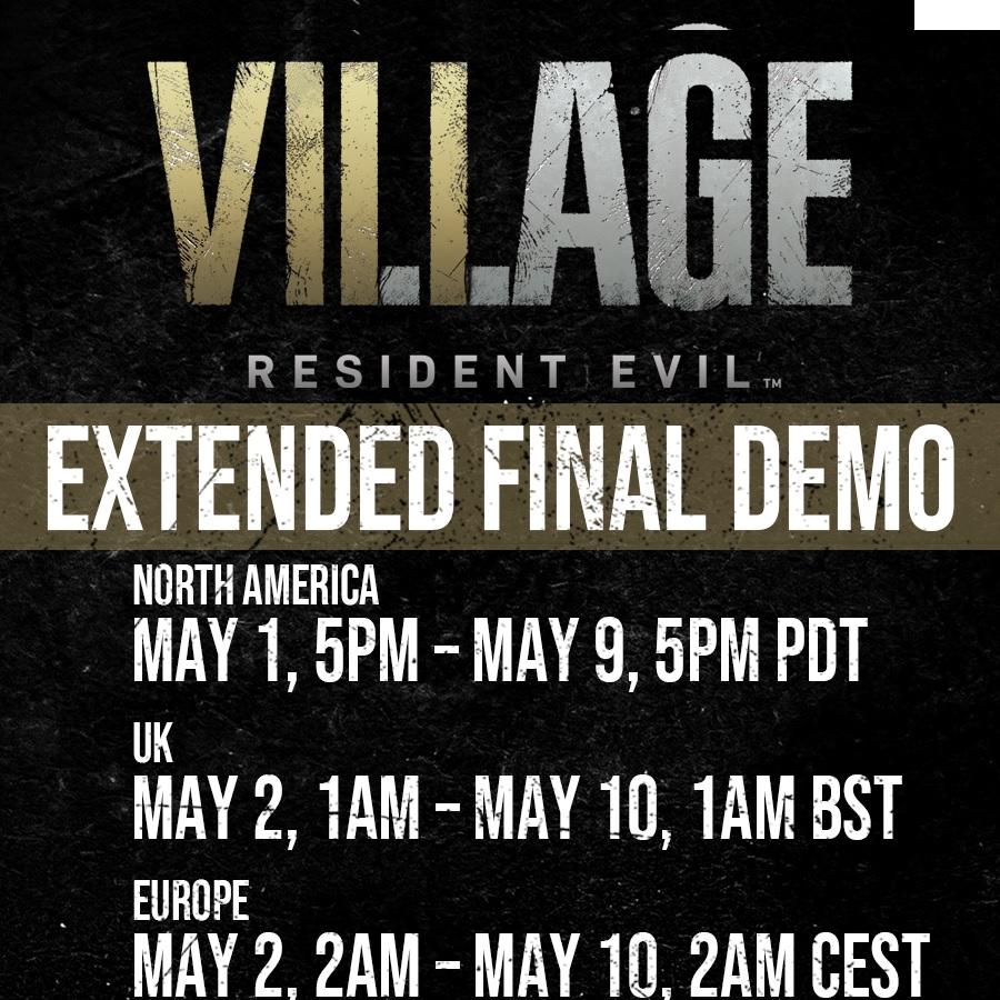 Resident Evil Village final demo updated schedule