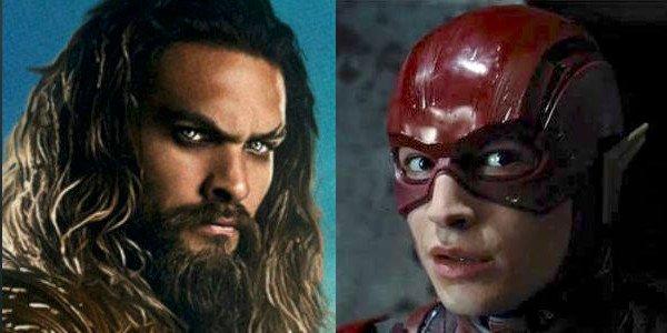 Jason Momoa and Ezra Miller as Aquaman and The Flash