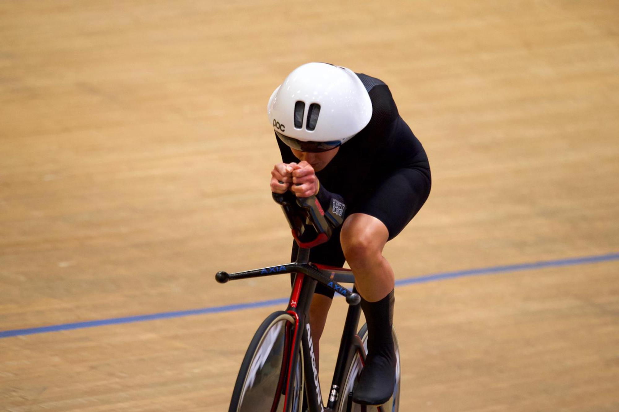 Joss Lowden during her Hour Record
