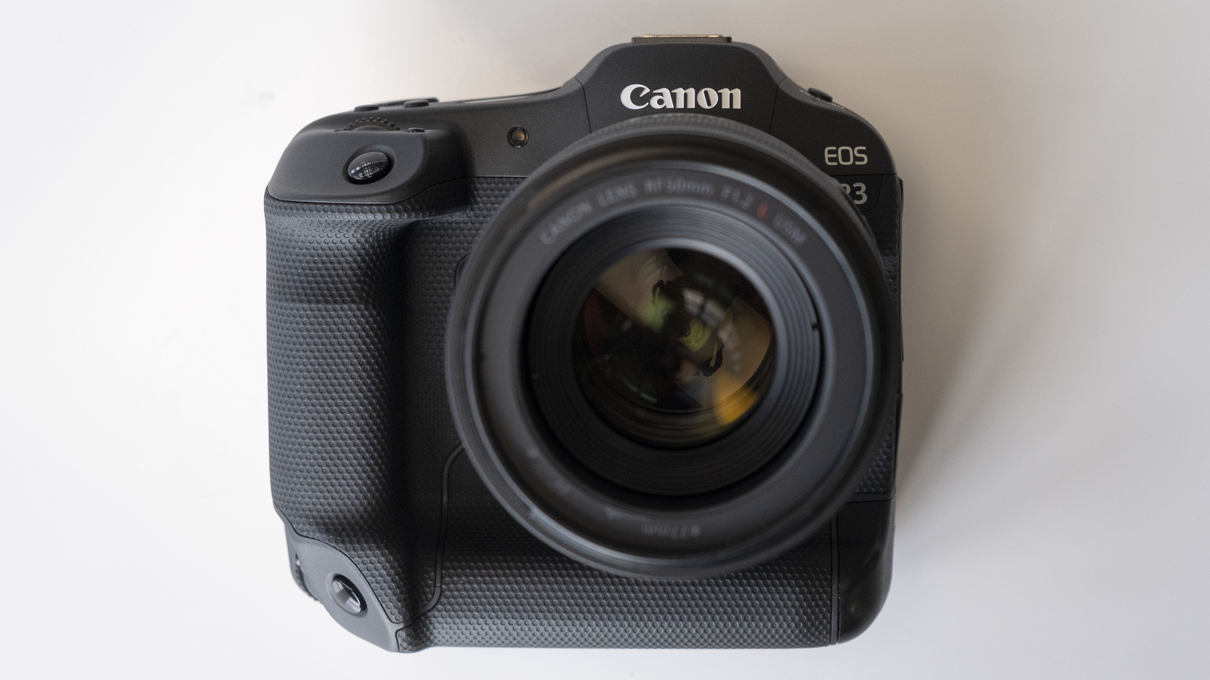 The front of the Canon EOS R3 mirrorless camera