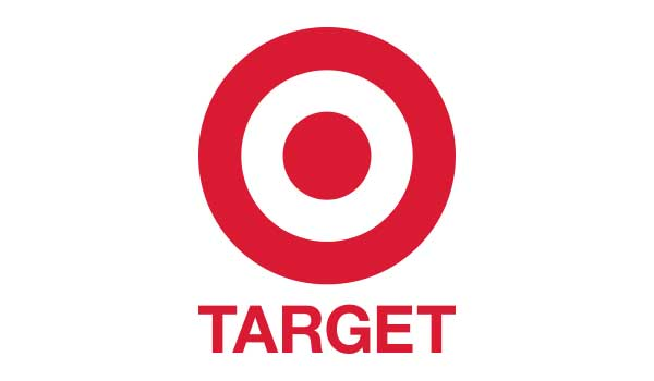Two red circles, one inside the other, on a white background with the word Target written underneath