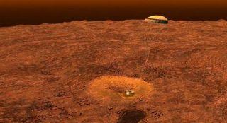 Huygens Probe Landing on Titan