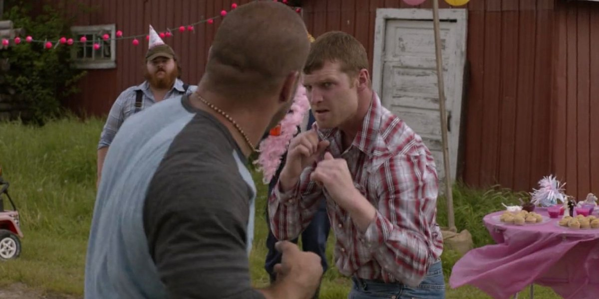 Jared Keeso as Wayne in a fight on Letterkenny