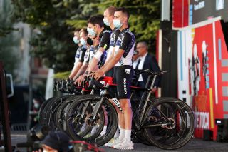 BURGOS SPAIN AUGUST 12 Fabio Aru of Italy and Team Qhubeka Nexthash and Teammates during the 76th Tour of Spain 2021 Team Presentation lavuelta LaVuelta21 CapitalMundialdelCiclismo catedral2021 on August 12 2021 in Burgos Spain Photo by Gonzalo Arroyo MorenoGetty Images