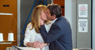 Jenny Bradley and Johnny Connor kiss passionately in Coronation Street.