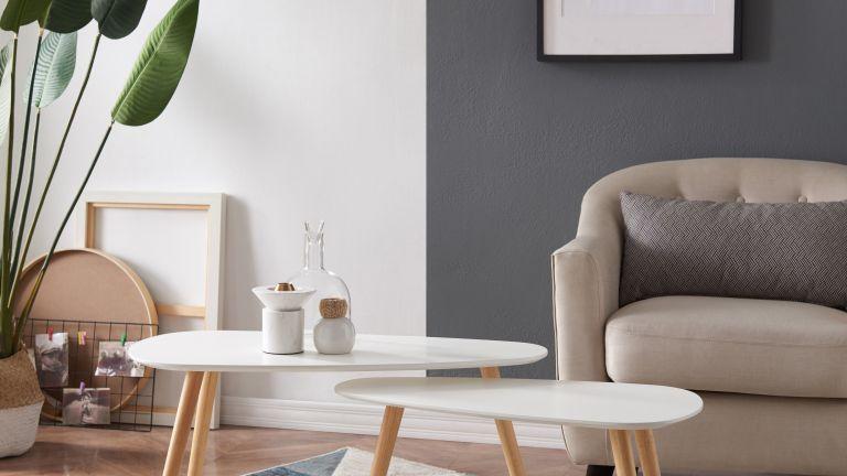 B&Q furniture: Merak Matt white & natural Non extendable Side table in living room