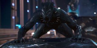 Black Panther T'Challa riding on the car roof