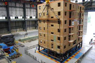 Engineers shake a six-story condominium building