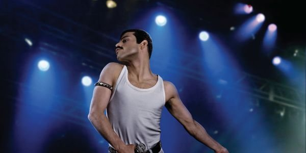 Rami Malek on stage as Freddie Mercury in Bohemian Rhapsody