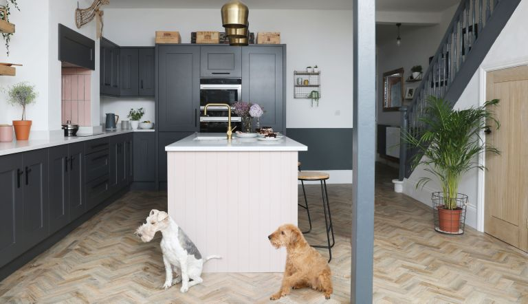 Steve and Katelin Haworth's industrial grey kitchen has been lifted with a pop of blush pink
