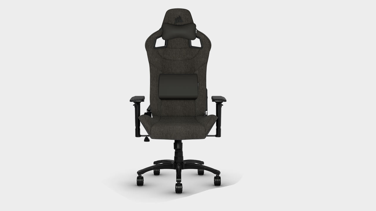 Corsair T3 Rush gaming chair on a grey background.