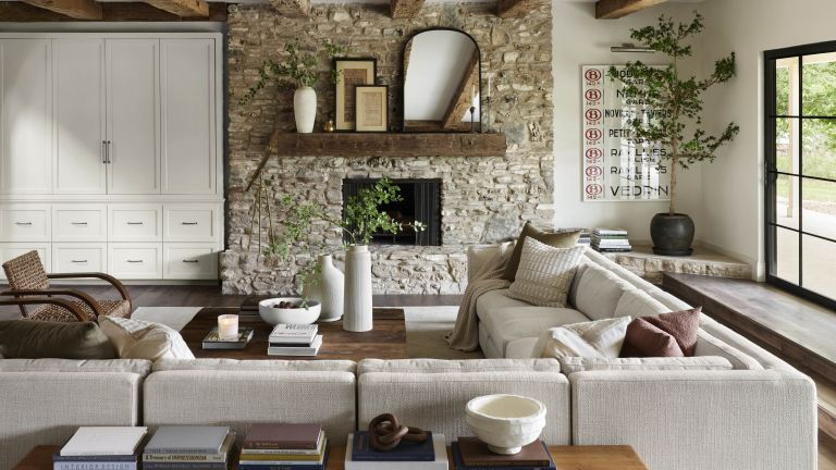 Beige living room designed by Joanna Gaines
