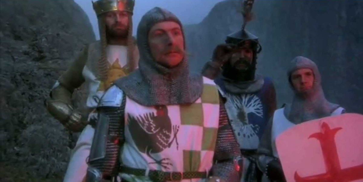 Graham Chapman, Eric Idle, Terry Jones and Michael Palin in Monty Python and the Holy Grail
