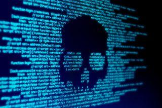 Stock image of a digital skull in code