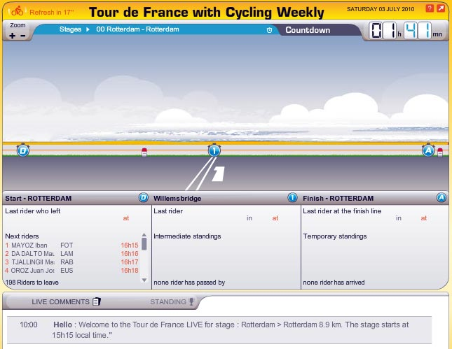 Tour de France live coverage screengrab