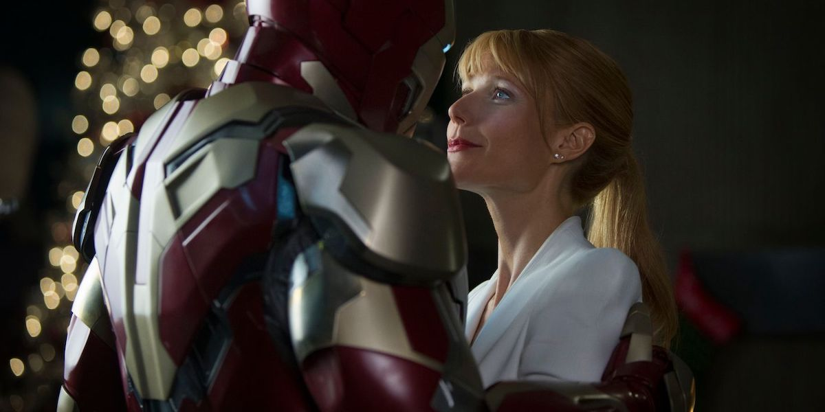 Gwyneth Paltrow's Pepper Potts in Iron Man's arms in Iron Man 3
