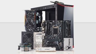 All the components for a budget gaming laid out on a white background