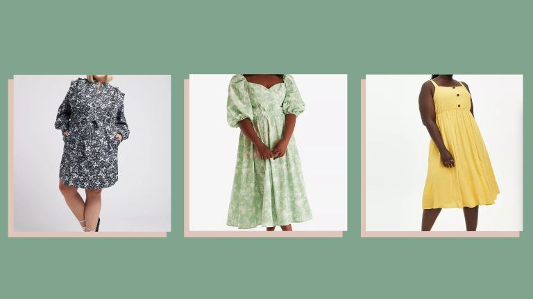 three of w&h's best plus size clothing brands picks on a green background