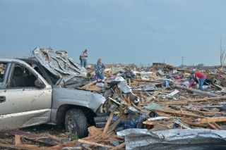 Rubble in Moore, Oklahoma, where a tornado struck in May 2013.