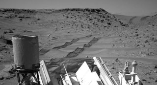 Curiosity's Navcam View of Wheel Tracks