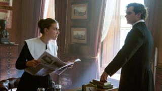 Millie Bobby Brown and Henry Cavill in Enola Holmes.
