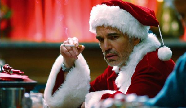 Bad Santa Billy Bob Thornton smoking at the bar