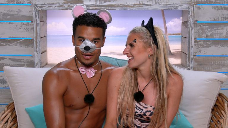 Love Island contestants Toby and Chloe speaking to camera after a challenge