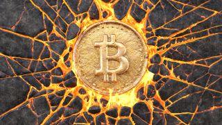 Bitcoin lava stock image