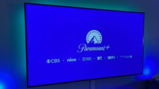 Paramount Plus and sub-brand logos on a TV
