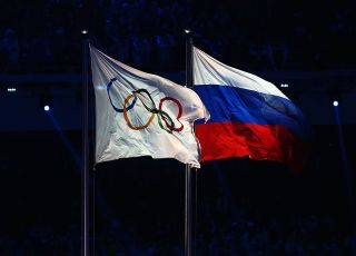 Russian and Olympic Flags at Sochi