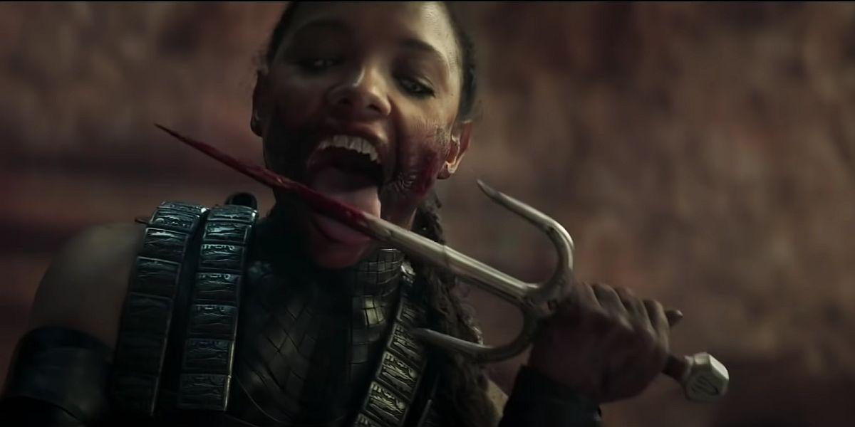 Mileena licking her Sai in Mortal Kombat