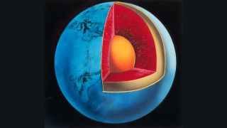 This diagram shows a globe of Earth with a cutaway to reveal the inner layers.