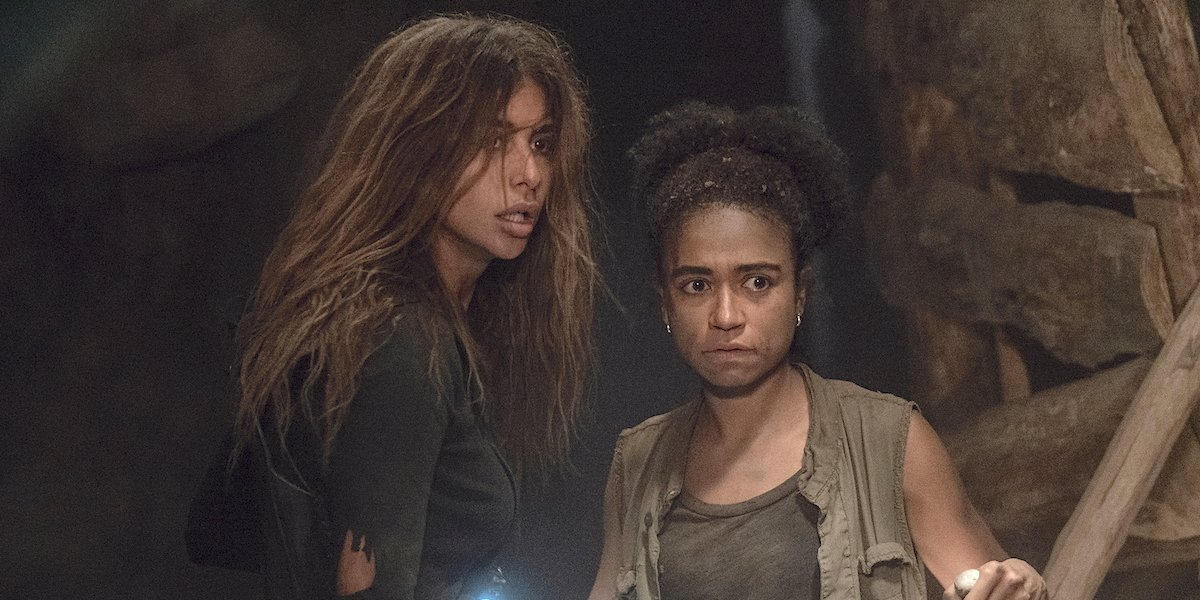 the walking dead connie and magna in the cave