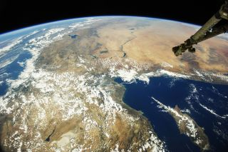 Turkey and neighboring countries as seen from space.