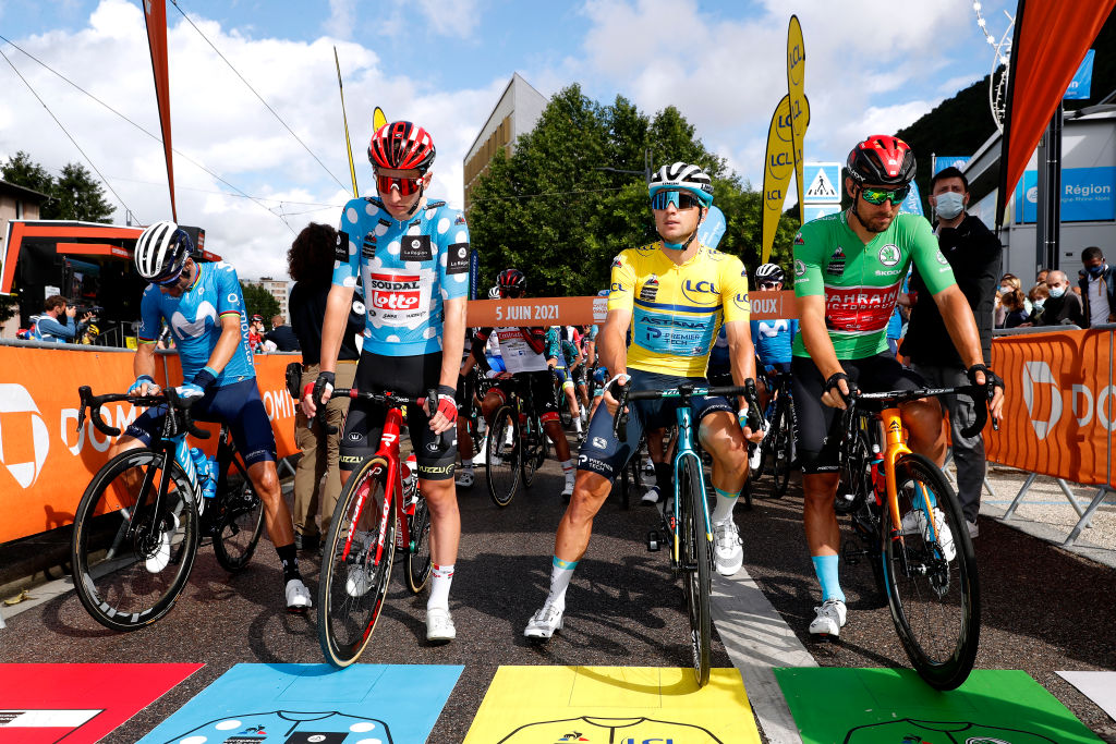 LA PLAGNE FRANCE JUNE 05 Alejandro Valverde Belmonte of Spain and Movistar Team Matthew Holmes of United Kingdom and Team Lotto Soudal Polka Dot Mountain Jersey Alexey Lutsenko of Kazahkstan and Team Astana Premier Tech Polka Dot Mountain Jersey Sonny Colbrelli of Italy and Team Bahrain Victorious Green Points Jersey at start during the 73rd Critrium du Dauphin 2021 Stage 7 a 1715km stage from SaintMartinLeVinoux to La Plagne 2072m UCIworldtour Dauphin dauphine on June 05 2021 in La Plagne France Photo by Bas CzerwinskiGetty Images