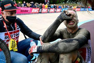 Florian Vermeersch, emotional after missing the win in Paris-Roubaix