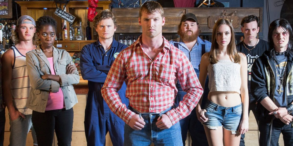 Letterkenny the cast lined up inside a bar