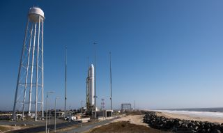 The Orbital Sciences Corporation Antares rocket is seen on the Mid-Atlantic Regional Spaceport (MARS) Pad-0A at the NASA Wallops Flight Facility, Tuesday, April 16, 2013 in Virginia.